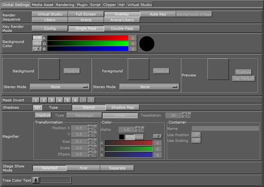Scene Settings - Viz Artist and Engine