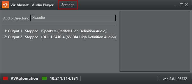 Audio Player Settings - Viz Mosart