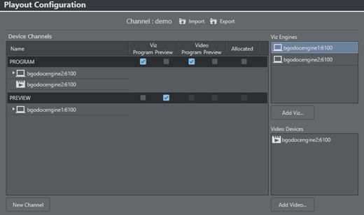 Playout Configuration - Viz Multichannel