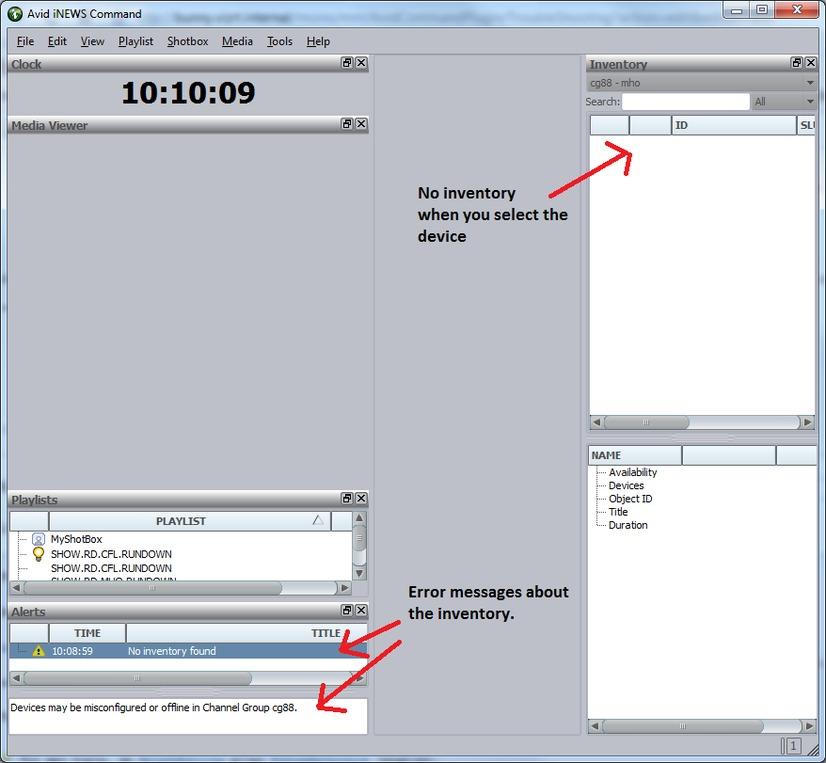 Configuration is not OK - Vizrt iNEWS Command Plugin
